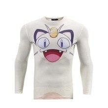 Anime Cartoon Pokemon Go Meowth 3D Printed Long Sleeve T shirt Men Tight Slim Tee Tops Tshirt Homme Mens Fashion Clothing