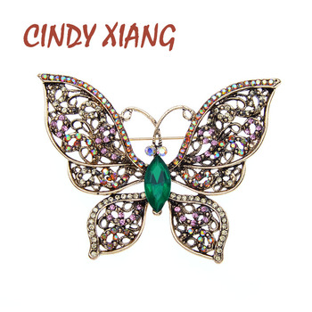 CINDY XIANG Vintage Rhinestone Butterfly Brooches For Women Insect Pin Brooch Hollow-out Retro Style цена 2017