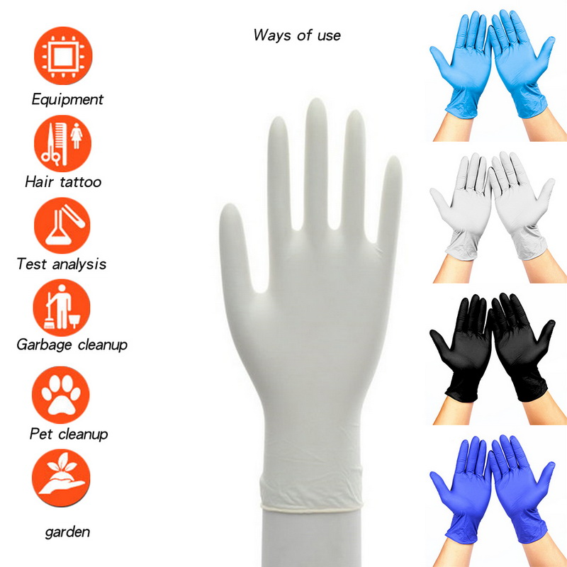 100Pcs Black Disposable Glove Latex Dishwashing/Kitchen /Work/Rubber/Garden Glove Universal For Left And Right Hand