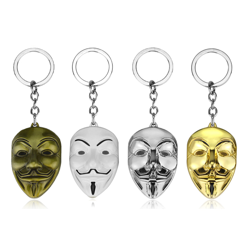 DC Comics Daredevil V For Vendetta Keychain Double D Avengers Mask Metal Keyring Pendant Women Bag Men Car Accessories Gift image