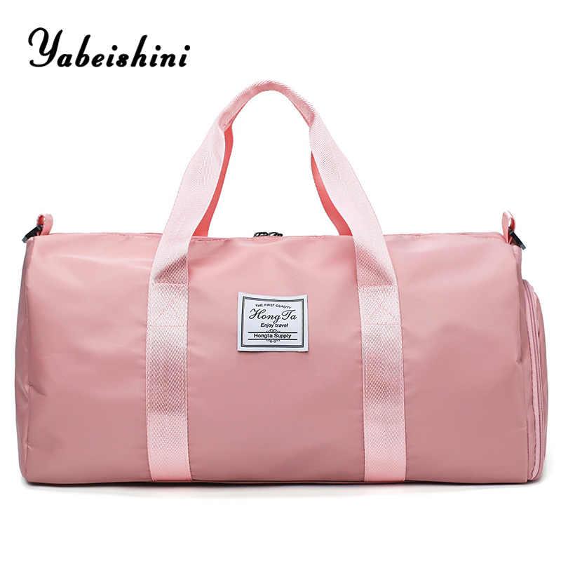 Женская нейлоновая тканевая сумка для путешествий, спортивная сумка для фитнеса, сумки для занятий йогой, сумка для хранения багажа, сумка-тоут с отдельной сумкой для обуви