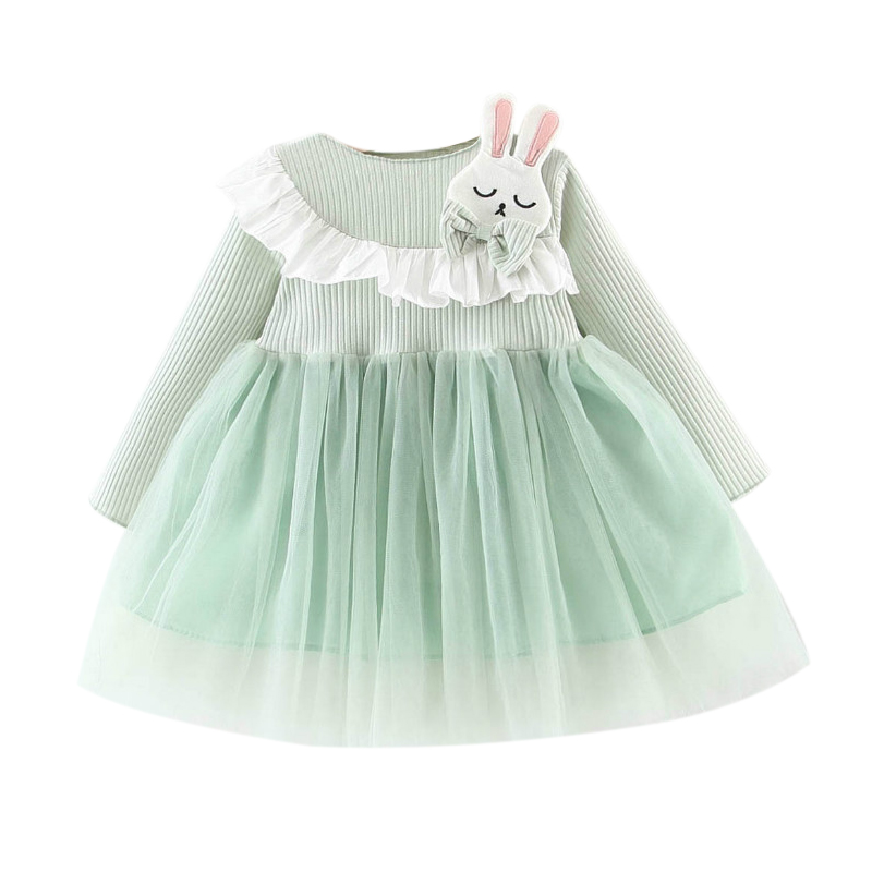 Toddler Dress Spring Baby-Girl Rabbit-Design Clothing Long-Sleeve Autumn title=