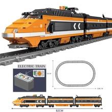 تكنيك البطارية بالطاقة الكهربائية الكلاسيكية متوافق مع brank قطار مدينة السكك الحديدية الخالق بناء كتل الطوب لعب للأطفال هدية