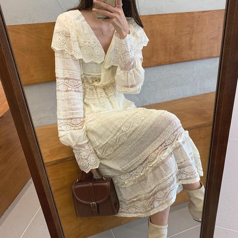 Ha52e63464bf245138768f2aa4d1d60abH - Spring V-Neck Long Sleeves Long Lace Midi Dress