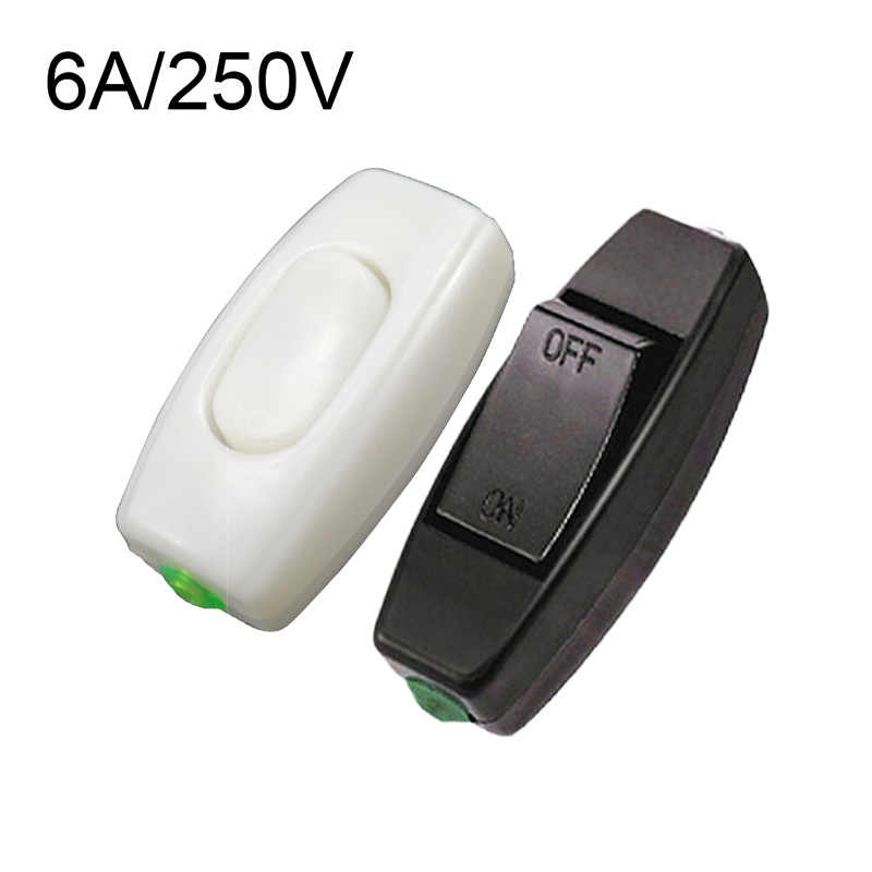 1PC 6A 250V Rocker Switch Lnline On/Off Lampu Meja Meja Kontrol Lampu Switch Hot Sale Socket switch Bagian Listrik