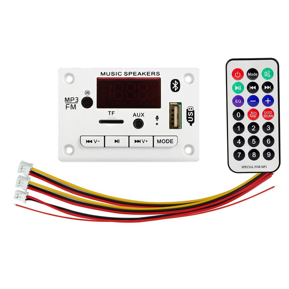 5V 12V Bluetooth 5.0 MP3 Decoding Board Module Wireless Car USB MP3 Player TF Card Slot USB FM with Microphone Handsfree control