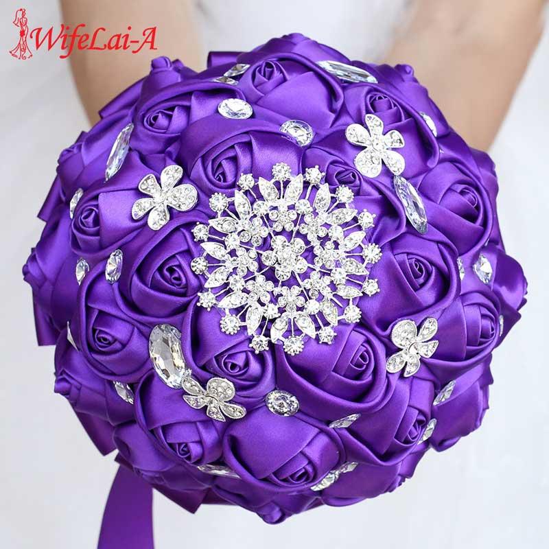 WifeLai-A High Quality Purple Silk Ribbon Rose Wedding Flowers Bridal Bouquets Bridesmaid Holding Flowers Wedding Bouquet W236-Z