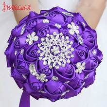 WifeLai-A High Quality Purple Silk Ribbon Rose Wedding Flowers Bridal Bouquets Bridesmaid Holding Bouquet W236-Z