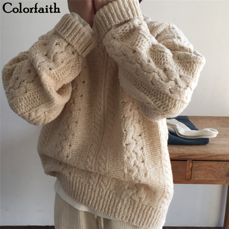 Colorfaith New 2019 Autumn Winter Women's Sweaters O-Neck Loose Knitting Warm Tops Korean Style Solid Ladies Minimalist SW7575