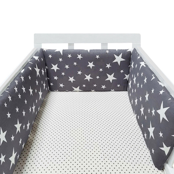 baby nursery Nordic Stars Design Baby Bed Thicken Bumper One-piece Crib Around Cushion Cot Protector Pillows Newborns Room Decor 9