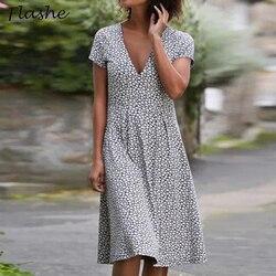 2021 Floral Print Short Sleeve Dress Women Summer V Neck Casual Elegant Vintage Party Dress Plus Size Loose Dresses For Women