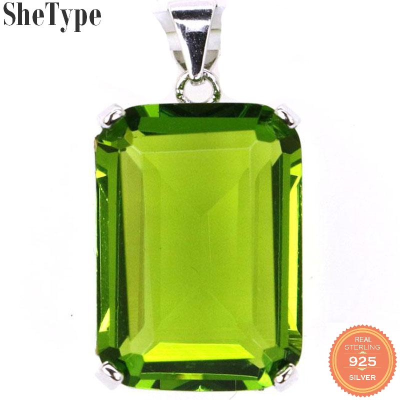28x13mm SheType 4.1g Rectangle Shape Created 18x13mm Green Peridot Gift For Woman's Jewelry Making 925 Sterling Silver Pendant