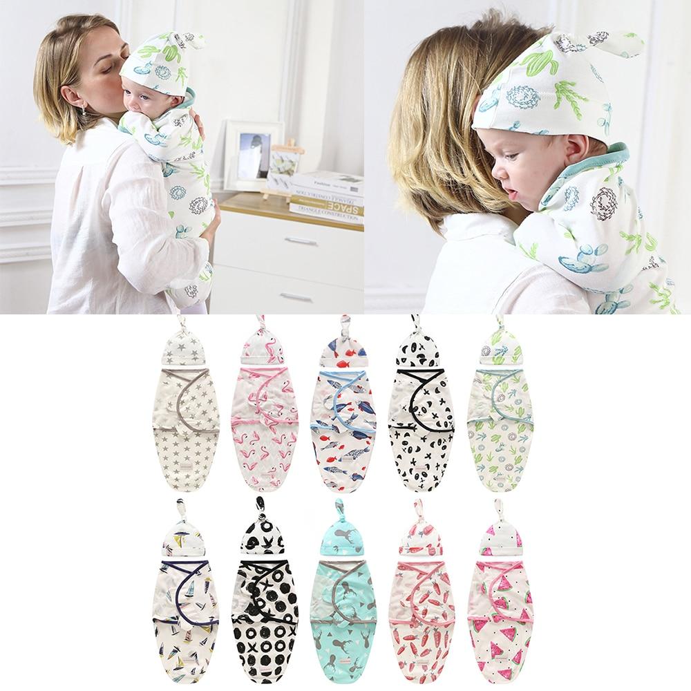 2 PCS Set Newborn Swaddle Wrap+Hat Cotton Baby Receiving Blanket Bedding Cartoon Cute Infant Sleeping Bag For 0-6M