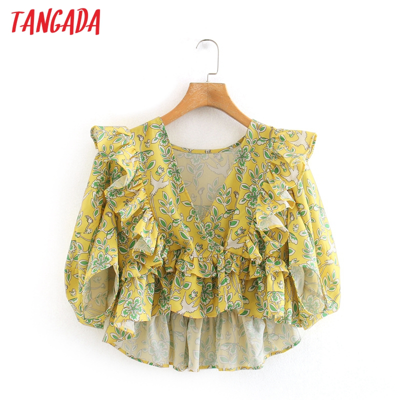 Tangada Women Yellow Floral Print Ruffle Crop Shirts V-neck Female Casual Summer Tops Blouses 2W218