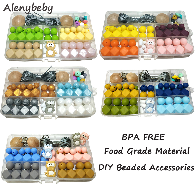 Baby Teething Beads Set Silicone Hexagon Bead Silicone Raccoon Teether DIY Handmade Mom Jewelry Necklace Baby Nuring Gifts Toys