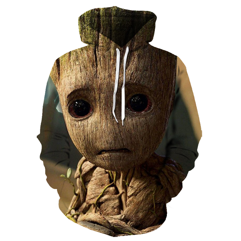 Big Eyes Cute Groot Little Treeman Guardians Of The Galaxy 3D Printed Hoodie Fun Pullover Casual Sportswear Size S-6XL