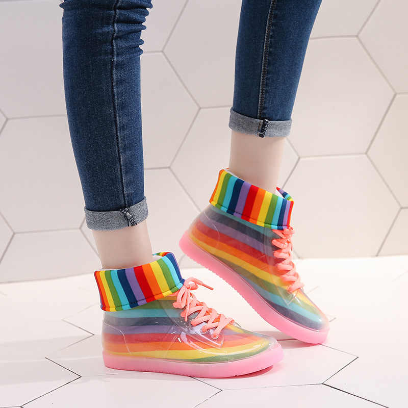 SWYIVY Giày Đi Mưa Nữ Mắt Cá Chân Giày 2019 Ấm Giày Boot Nữ Rainbow Jelly Giày Trong Suốt Chống Nước chống trượt Cao Su 'd Giày