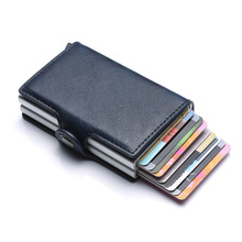 Business Credit Card Holder Wallet Unisex Double Aluminium Metal Blocking RFID Wallet PU Leather Men ID Card Case Travel Purse