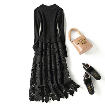 2020 Autumn Winter Elegant Black Lace Long Sleeve Slim Midi Party Dress Bodycon Long Knitted Sweater Dress Spring Vestidos 2020 elegant knitted sweater dress women korean causal autumn spring hollow out long sleeve loose pullover long dress black