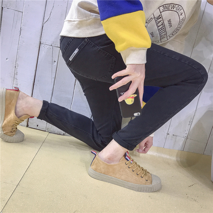 Jeans Men Korean-style Teenager Casual Black Jeans Autumn Elasticity Slim Fit Pants Trousers