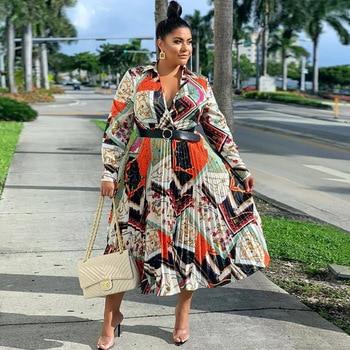 Plus Größe Afrikanische Kleidung Frauen Sommer Maxi Kleid Vintage Gürtel Drucken Langarm Boubou Africain Femme Vestidos 2020