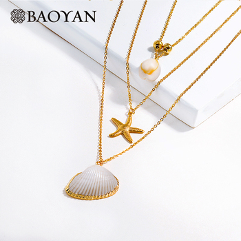 BAOYAN Boho Multi Layered Stainless Steel Necklaces Gold Starfish Seashell Pendant Necklaces White Natural Shell Necklaces Women