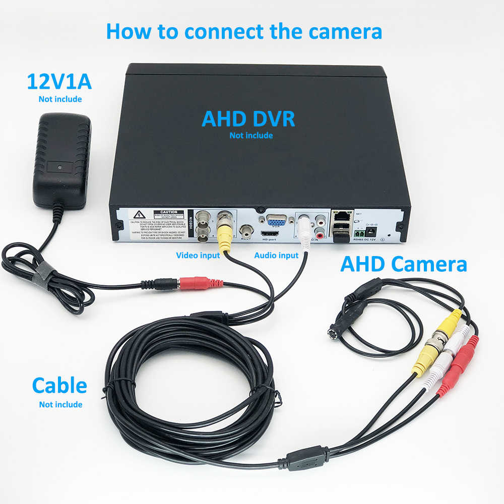 OwlCat فيديو مراقبة كاميرا AHD 720P 1080P HD البسيطة عدسة 3.7 مللي متر الأمن كاميرا مع فيديو بي ان سي و RCA الصوت MIC 2MP