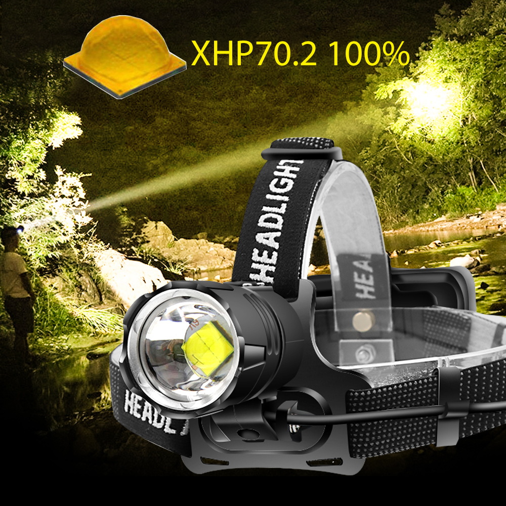 New XHP70.2 Powerful Led Headlamp Waterproof USB Rechargeable Zoom White Yellow Headlight Hunting Camping Torch Use 18650