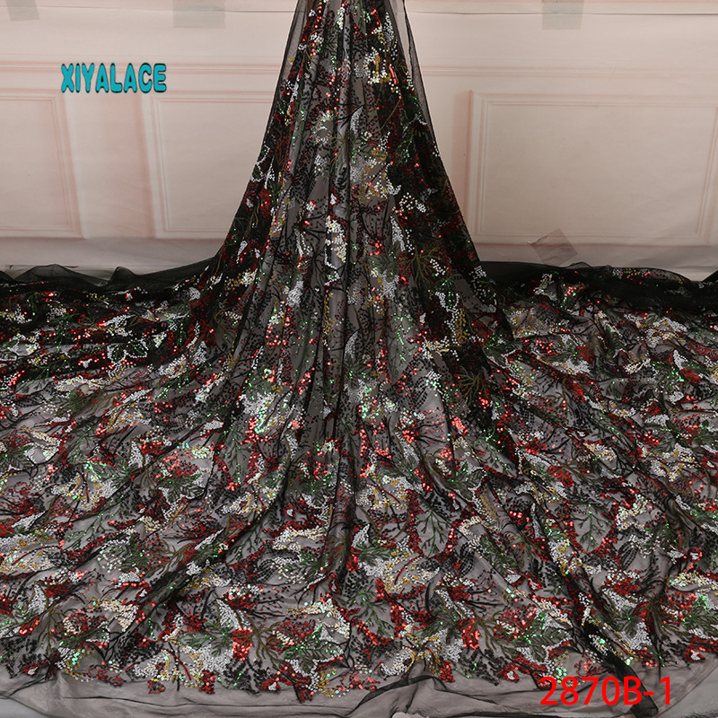 Hot Sale Sequins Lace Fabric High Quality 2019 African Net Laces Fabrics Nigerian Tulle With Sequins For Wedding YA2870B-1