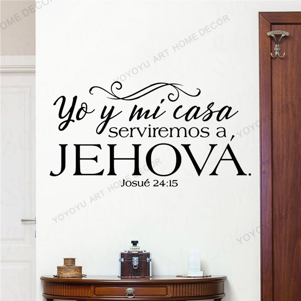 Christian Wallpaer Mursl Josue 24:15 Bible verses wall stickers Spanish written Spanish Christian family wall Decal  JC58