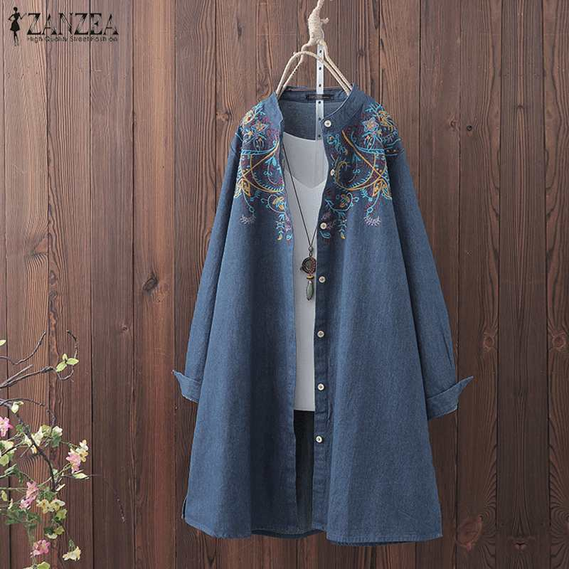 Women Vintage Embroidery Blouse Denim Blue Shirt ZANZEA Autumn Long Sleeve Blusas Femininas Tunic Tops Plus Size Casual Blouses