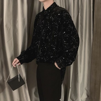 NiceMix blouse men clothes 2020 spring Korean style unique star Shining velvet shirts mens casual loose velvet tops long sleeve набор полотенец shining star shining star mp002xu0e3g5