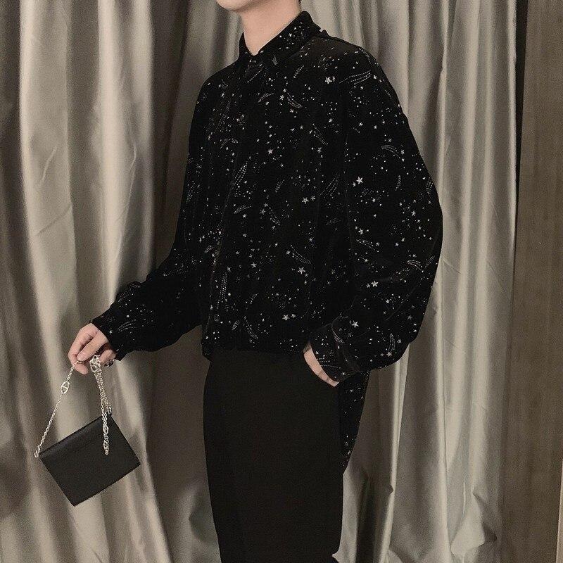 Black Blouse Men Clothes 2020 Spring Korean Style Unique Star Shining Velvet Shirts Mens Casual Loose Velvet Tops Long Sleeve
