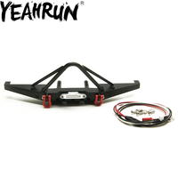 YEAHRUN Metal Front Bumper wIth LED Kit For 1/10 RC Axial SCX10 90046 Crawler