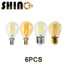 6 unids/lote 4W G45 Retro Edison bombilla de filamento E14 E27 Bombillas 220V lámpara Vintage 2700K 4000K de vidrio claro decoración interior