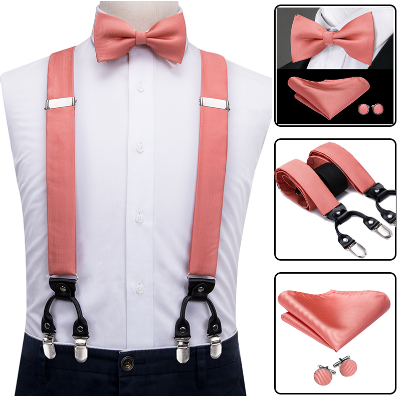 Hi-Tie 100% Silk Adult Men's Suspenders Bow Tie Cufflinks Set Leather Metal 6 Clips Braces Elastic Suspenders Men Coral Peach