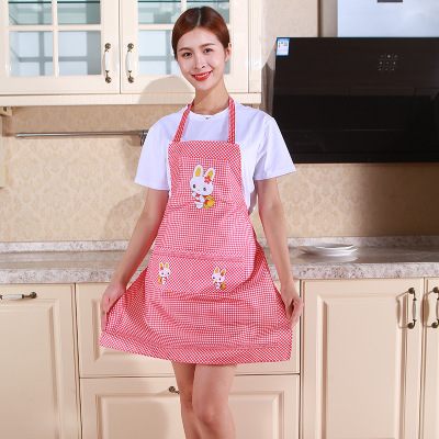 Cute Cartoon Rabbit Kitchen Apron for Men Women Home Cleaning Tools Pink White Waterproof Apron Cotton Linen Easy to Clean House