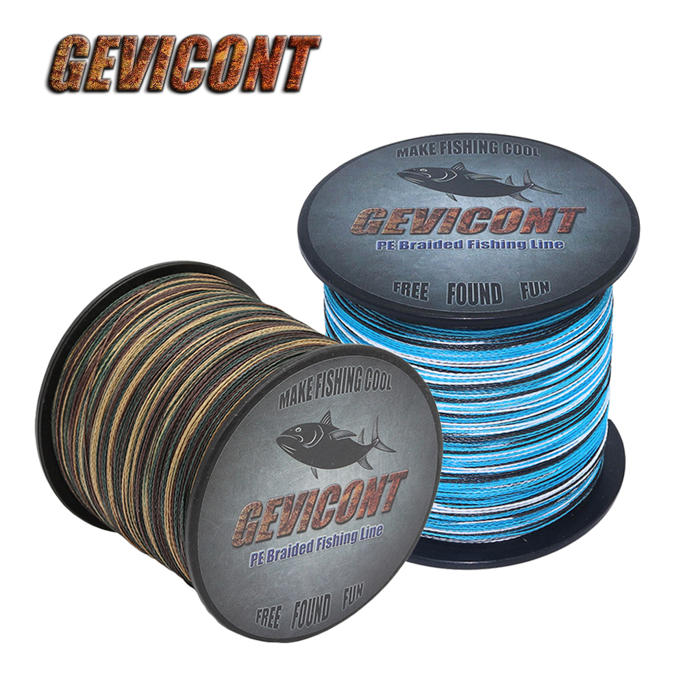 Gevicont Fishing Line Multifilament Camo <font><b>4</b></font> Strands 6-100LB <font><b>PE</b></font> Braided Wire 100M-2000M Cord Saltwater Strong Carp Fishing Line image