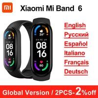Versione globale Xiaomi Mi Band 6 Smart Bracelet AMOLED Miband 6 Fitness Traker frequenza cardiaca Smart Band impermeabile multilingue