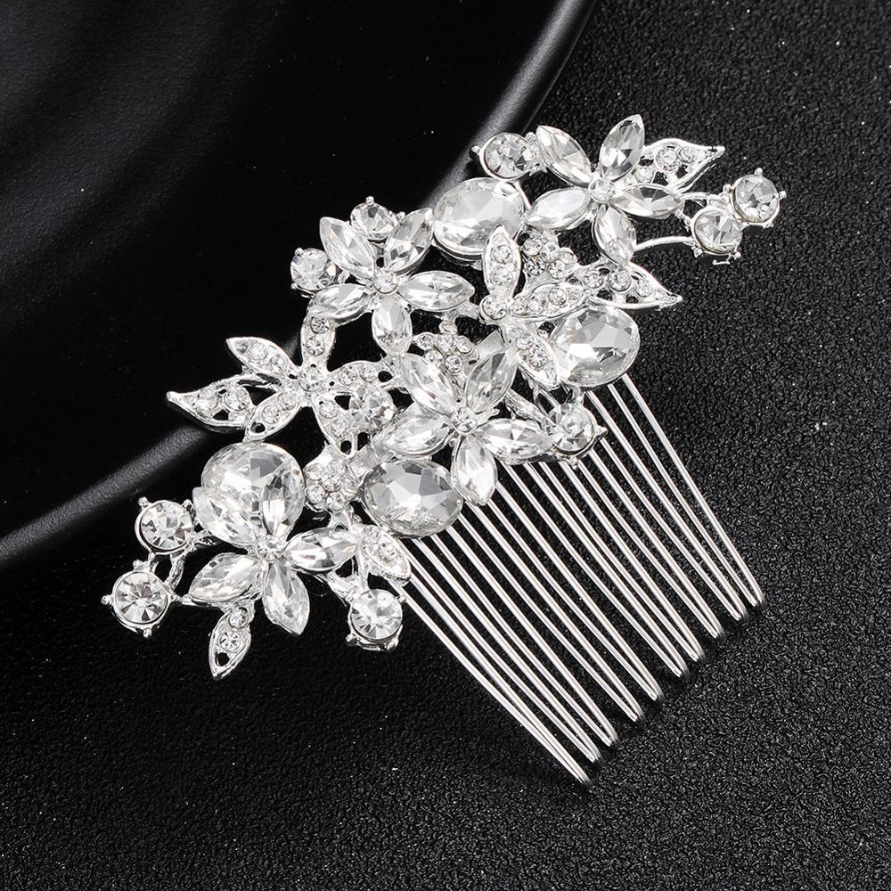 Bridal Hair Headdress Jewelry Clear Crystal Hairpins Headdress Fashion Color Hair Combs Wedding Hair Accessories FS71