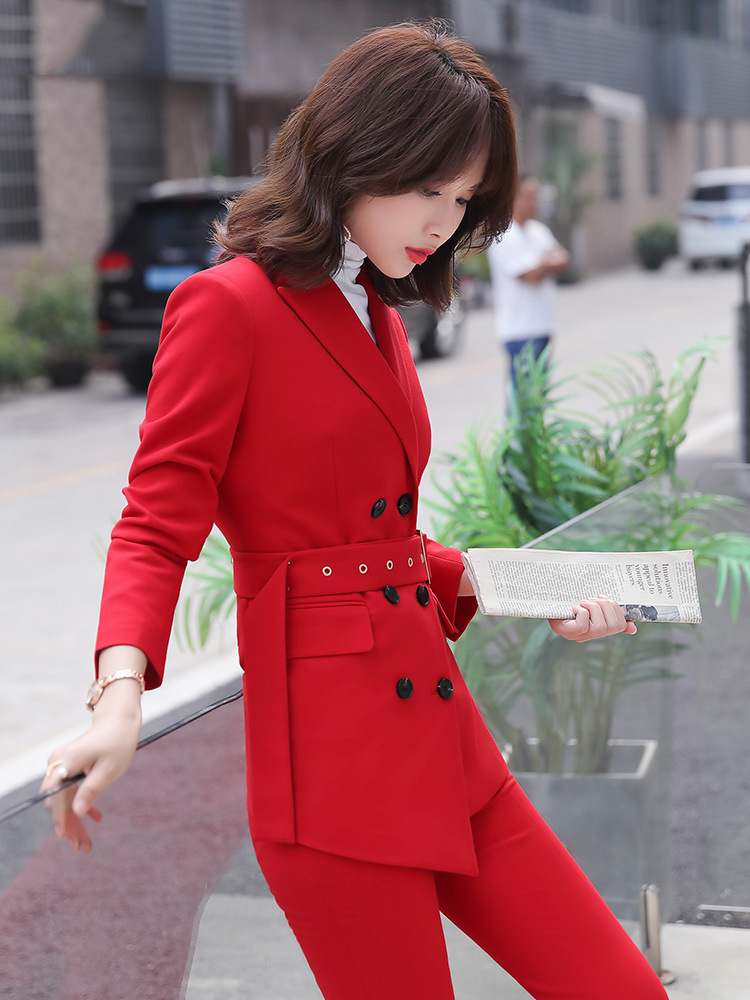 High quality plus size women's professional suit pants two-piece autumn and winter double-breasted female jacket Casual trousers