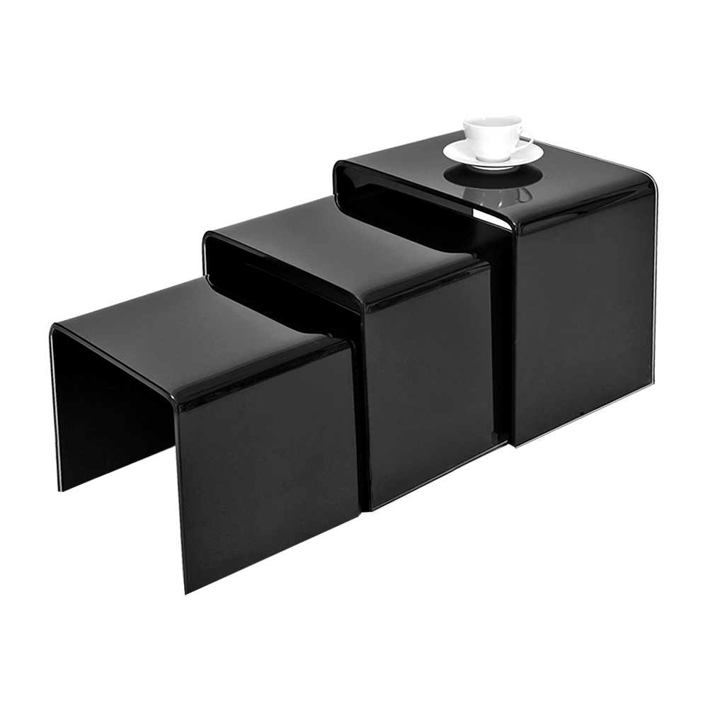 Panana Stylish Design White + Black Tempered Glass Nest Of 3 Coffee Table Side Table