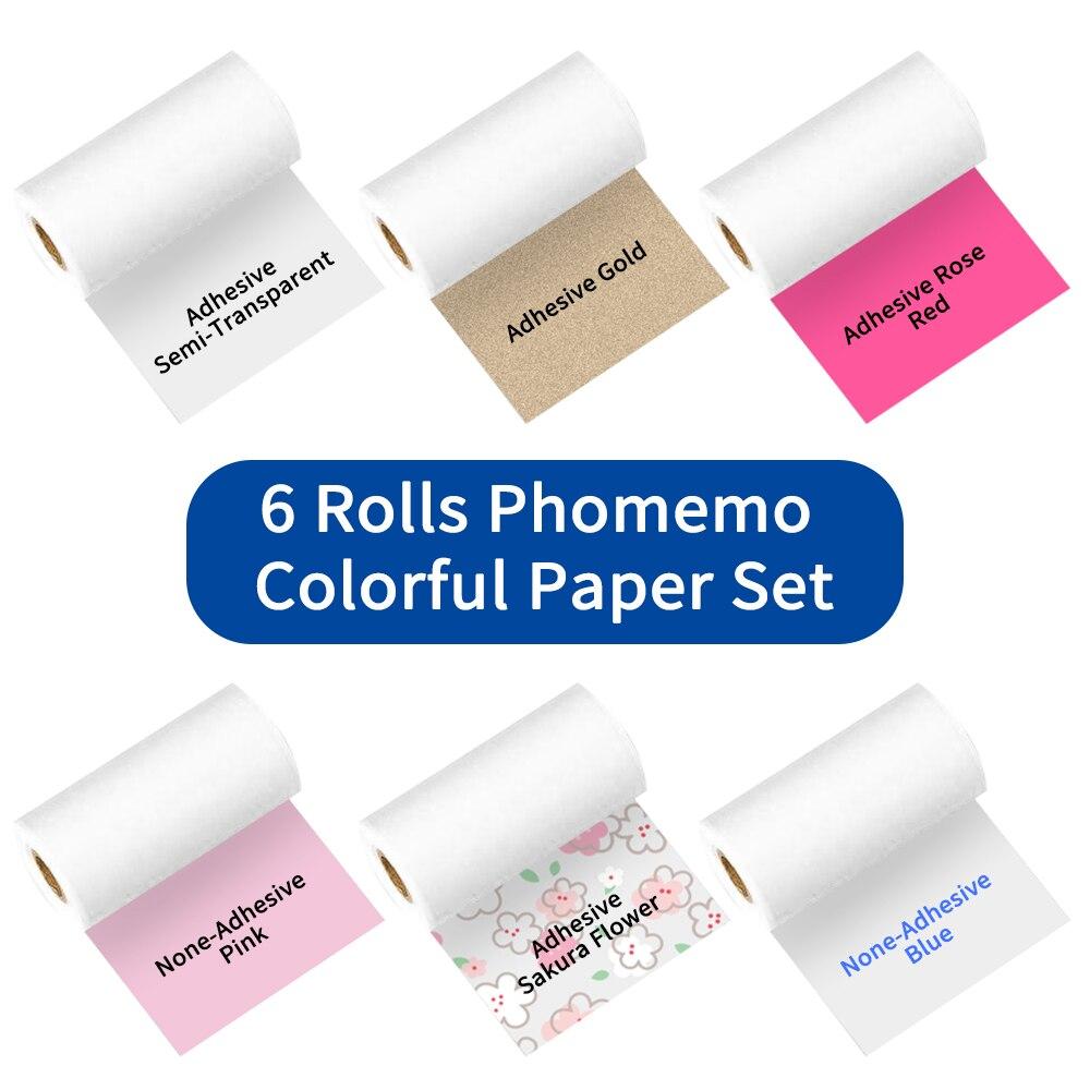 Бумажные Клейкие заметки Phomemo Termica, красочные наклейки для M02/M02S/M02Pro, клейкие этикетки в рулонах, ширина 50/53 мм, термобумага s