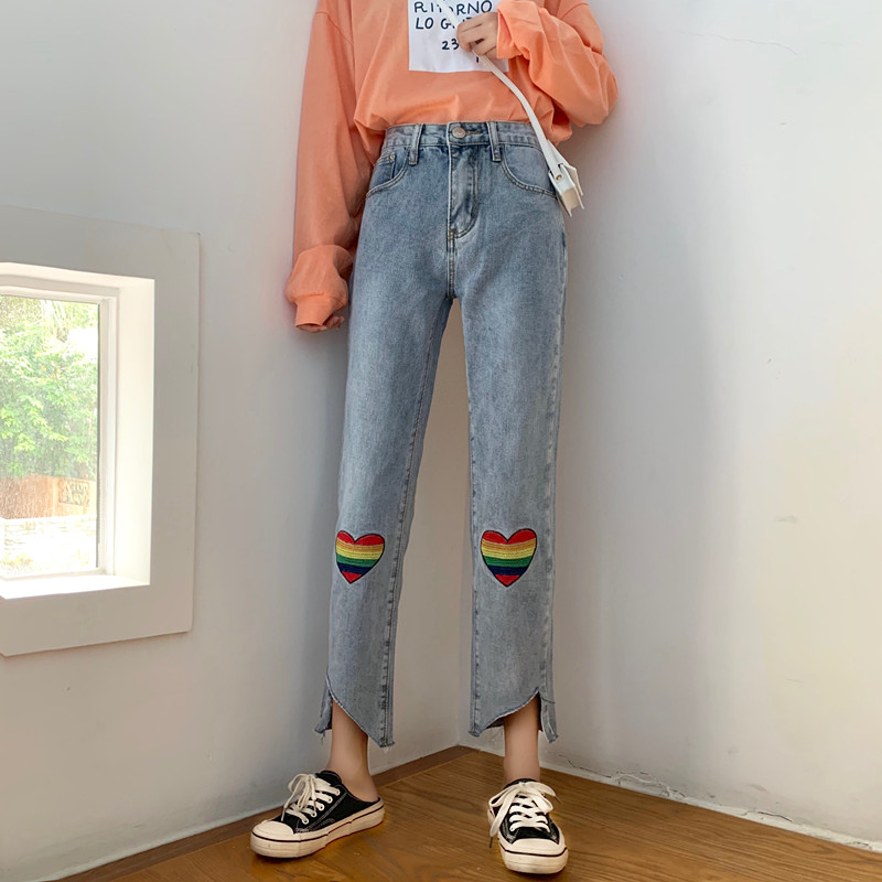 Mooirue High Waist Jeans Women Vintage Heart Rainbow Embroidery Streetwear Korean Style Straight Harajuku Irregular Denim Pants