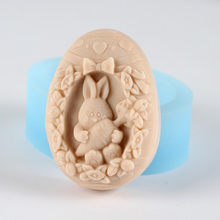 DIY Soap Molds Oval with Rabbit Shaped Craft Resin Mould