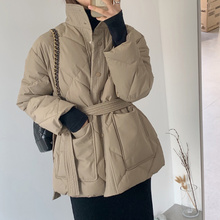 2021 The New listing Winter Jacket Women Thick Down Cotton Padded Parka Turtleneck Ladies Casual Oversize Outwear With Belt