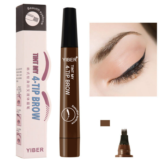 5 Colors 3D Microblading Eyebrow Tattoo Pen Fine Sketch Liquid Eyebrow Waterproof Eyebrows Enhancer Dye Tint Pen 4 Fork Tips
