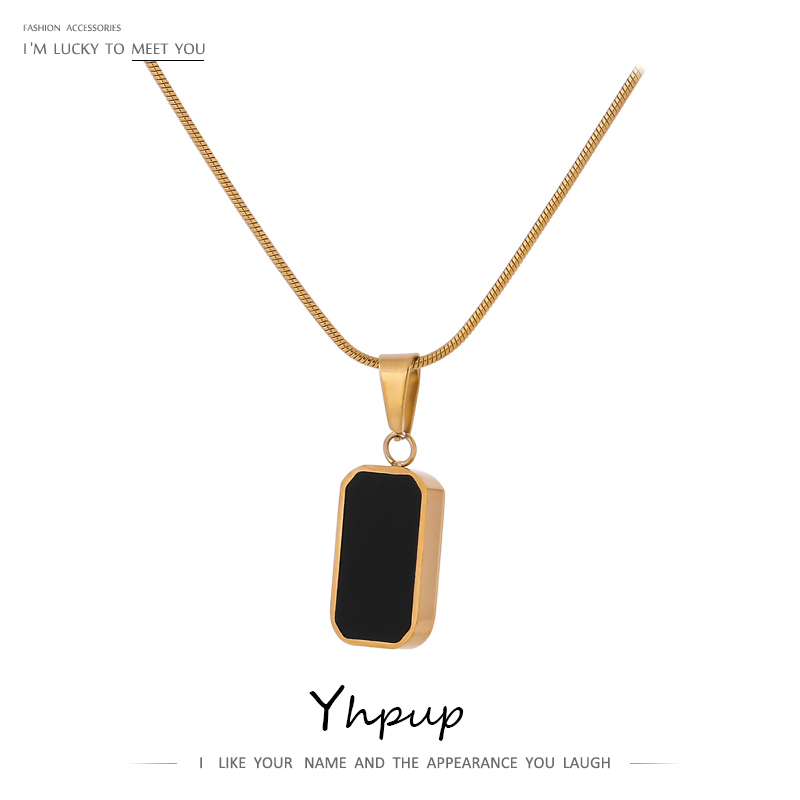 Yhpup Double-Sided Black White Enamel Natural Shell Pendant Necklace for Women Stainless Steel Metal Choker Necklace Gift 2021
