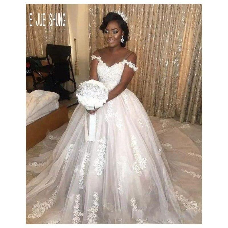 E JUE SHUNG New Arrival African Ball Gown Wedding Dresses Off Shoulder Lace Appliques Bridal Gowns Vestido De Noiva