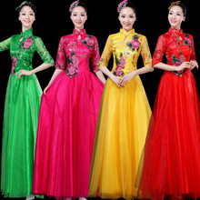 2020 New For Middle aged And Old People Dance Clothes Elegant Classical Long Skirt Zither Dress Chinese Style Female Chorus